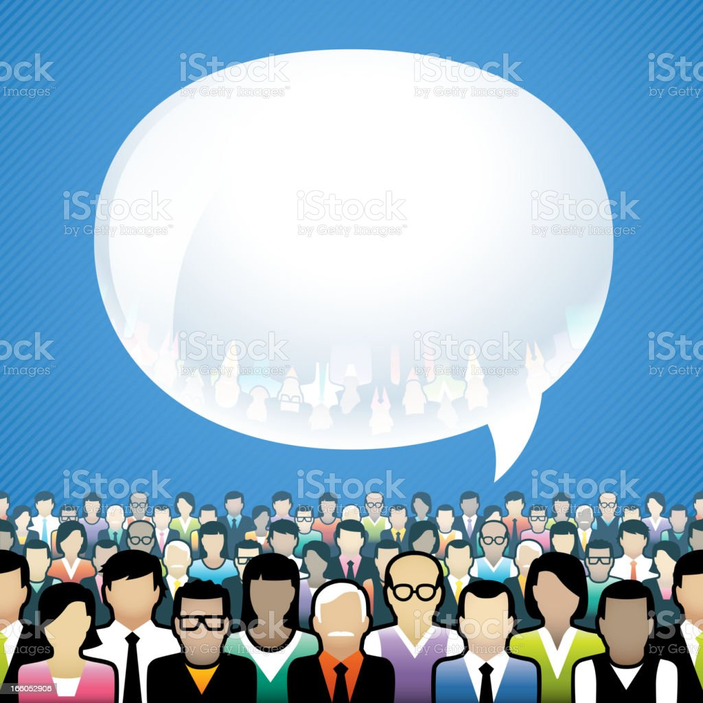 Animated crowd with a single thought bubble royalty-free stock vector art