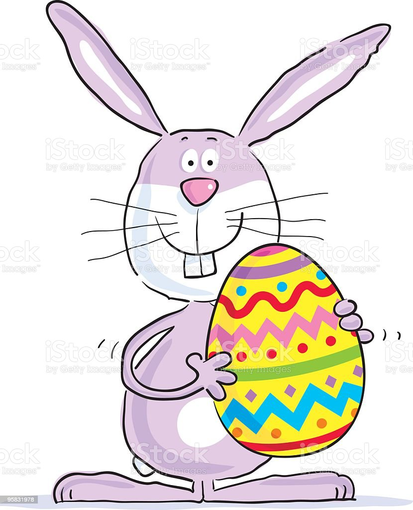 Animated Eater Bunny holding a pastel decorated Easter Egg  royalty-free stock vector art
