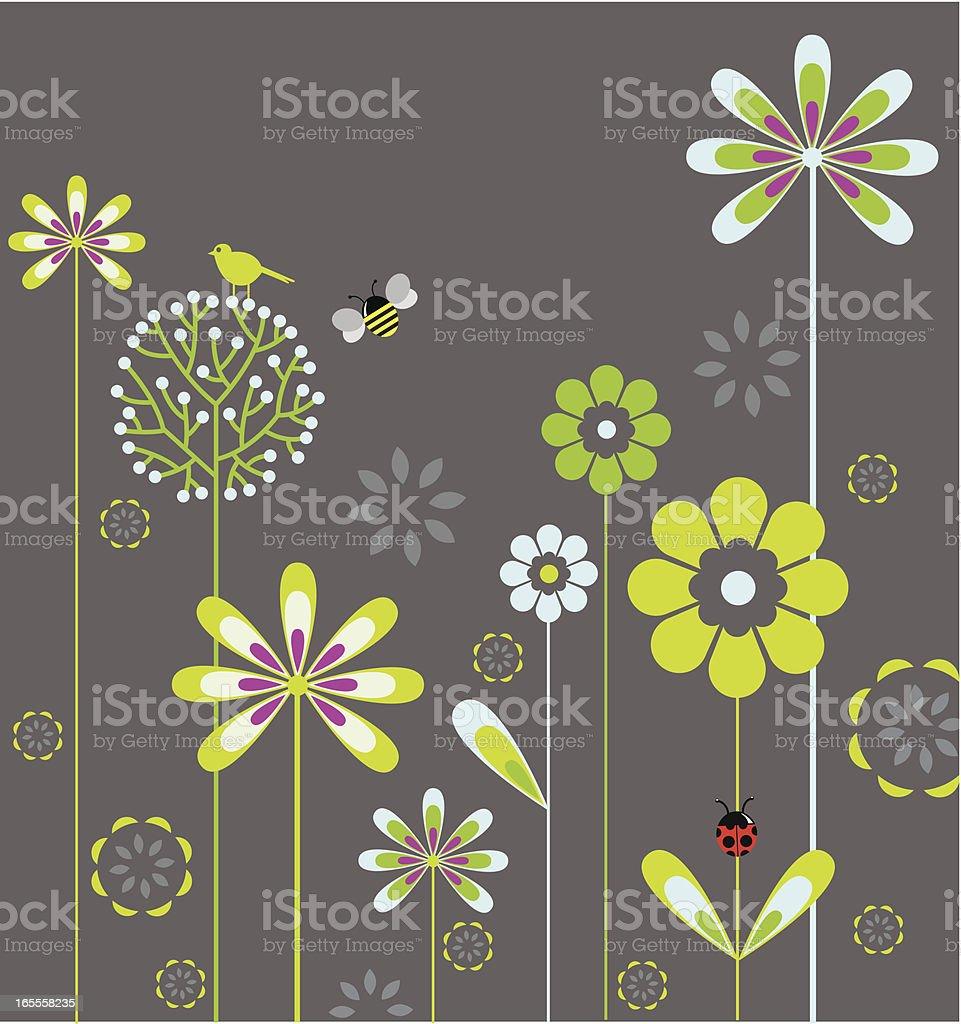 A animated flower garden background vector art illustration