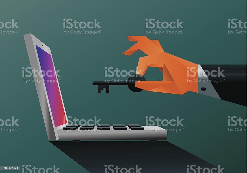 Animated image of a hand with a key over a laptop vector art illustration