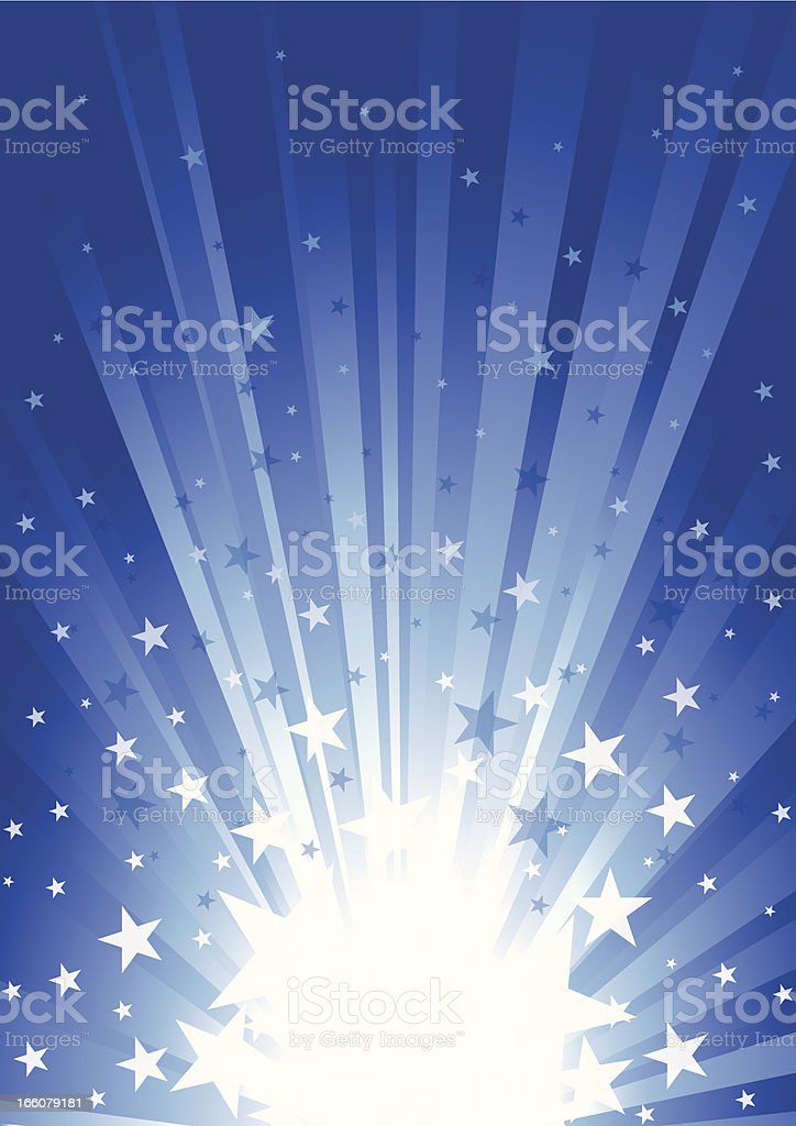 Animated image of a star burst with the stars spurting out royalty-free stock vector art