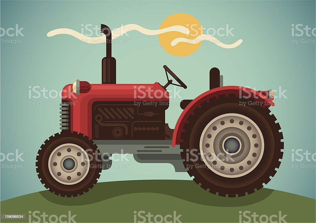 Animated image of a tractor with the sun in the background vector art illustration