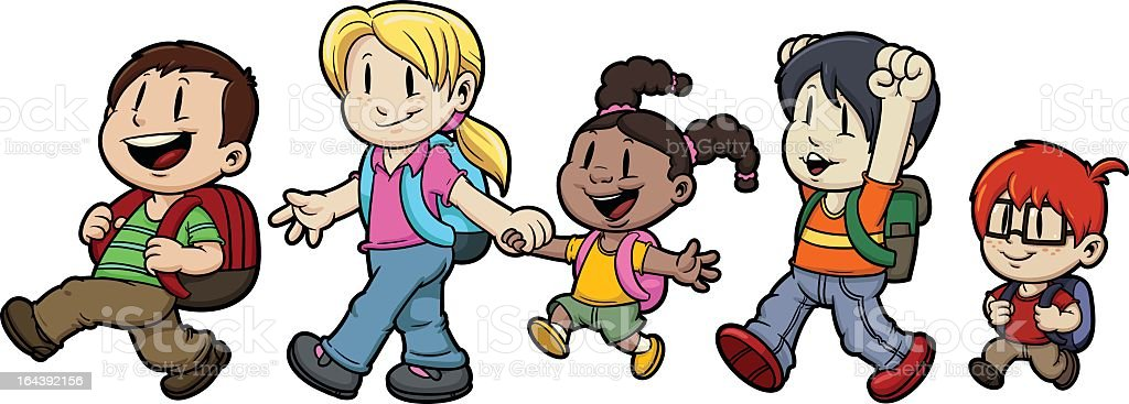 Animated image of five children going to school royalty-free stock vector art