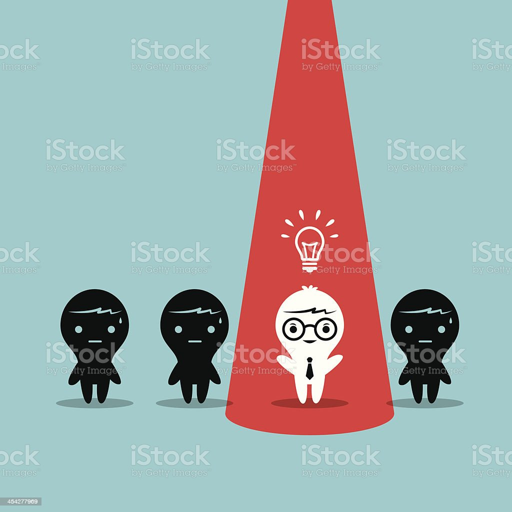 Animated image shows one of four individuals having an idea vector art illustration