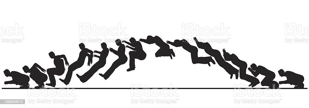 Animated jumping man vector art illustration