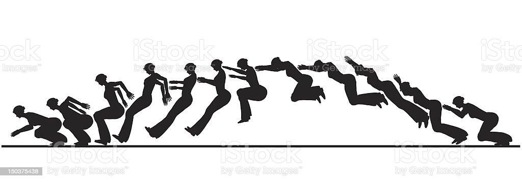 Animated jumping woman vector art illustration