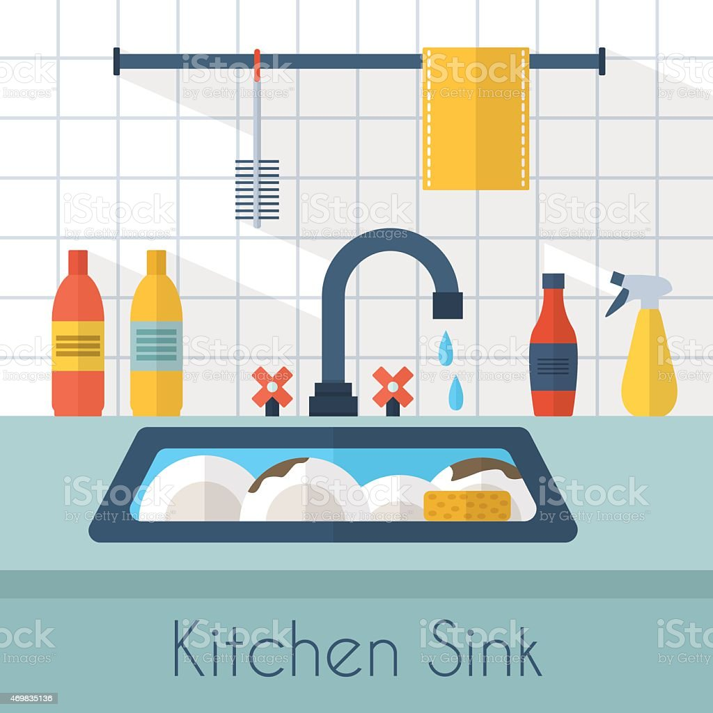 Animated kitchen sink with dishes and water dripping vector art illustration