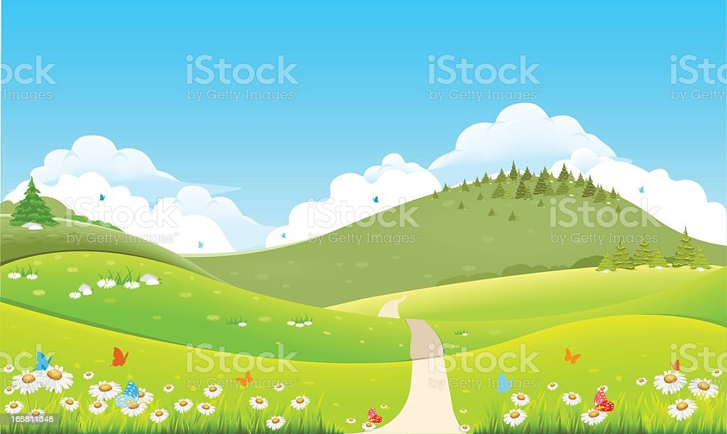 Animated meadow and hill landscape royalty-free stock vector art
