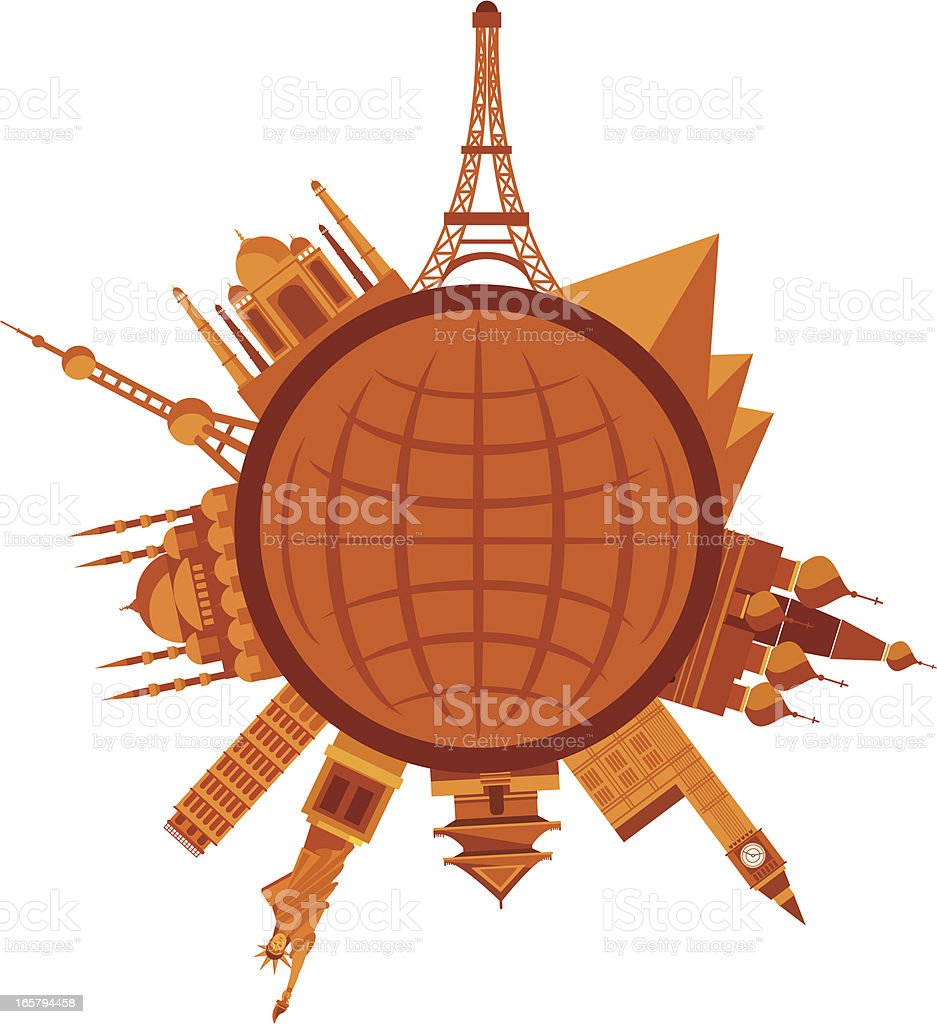 Animated orange global travel icon graphic world attractions royalty-free stock vector art