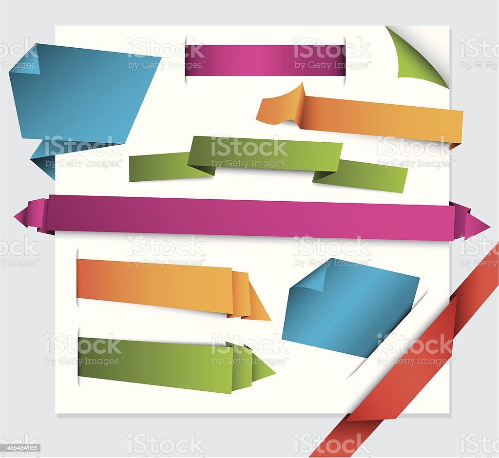 Animated origami style text banner examples royalty-free stock vector art