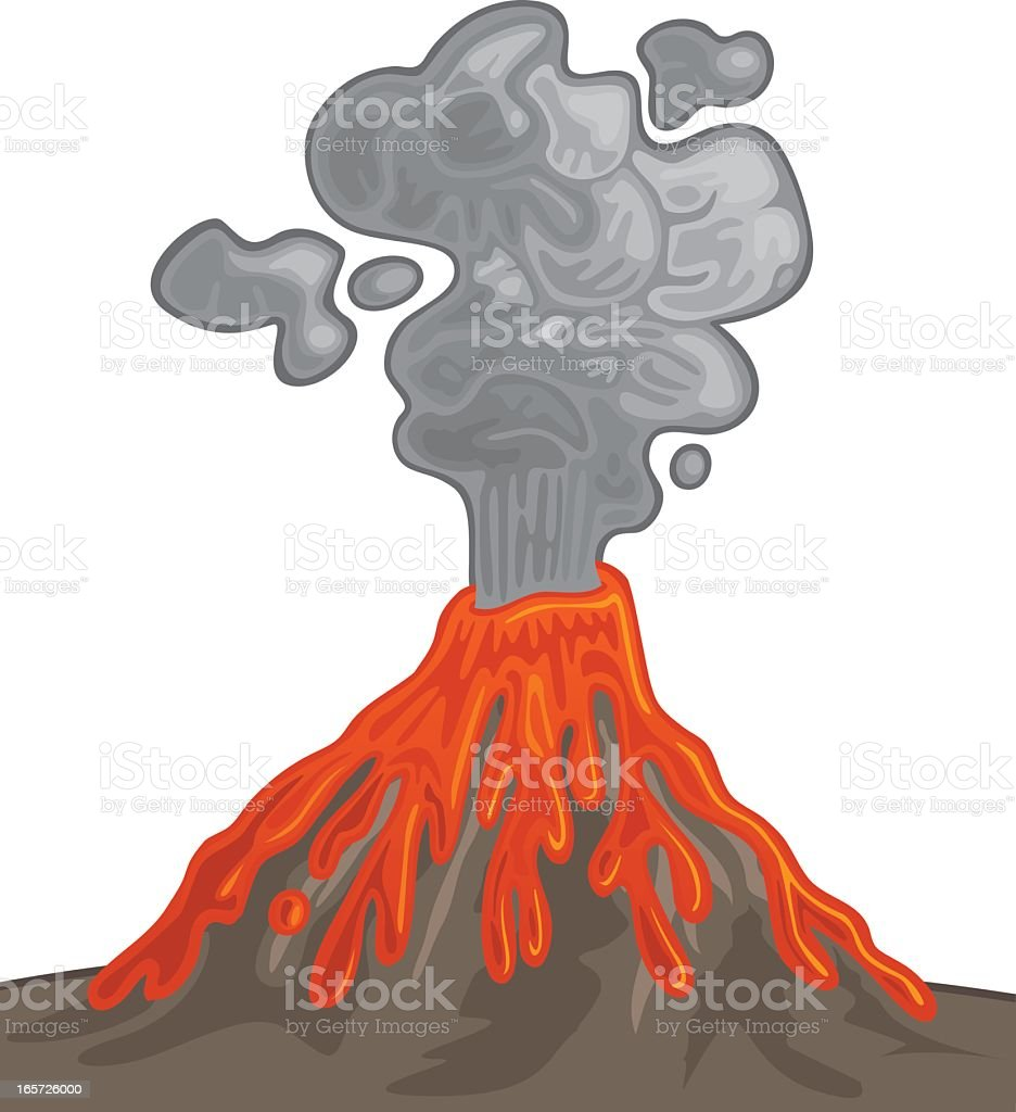 Animated picture of a volcano erupting with lava and smoke vector art illustration