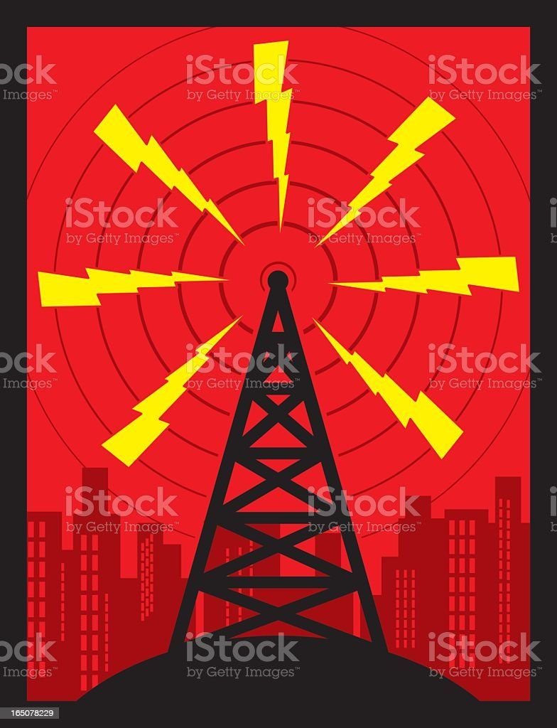Animated radio transmission tower with red sky and city vector art illustration