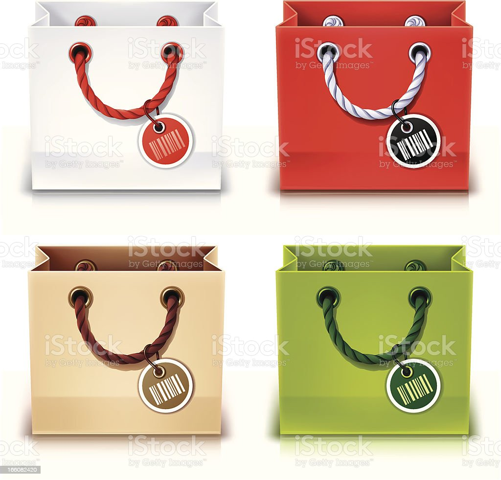 Animated shopping bags in various colors with tags royalty-free stock vector art