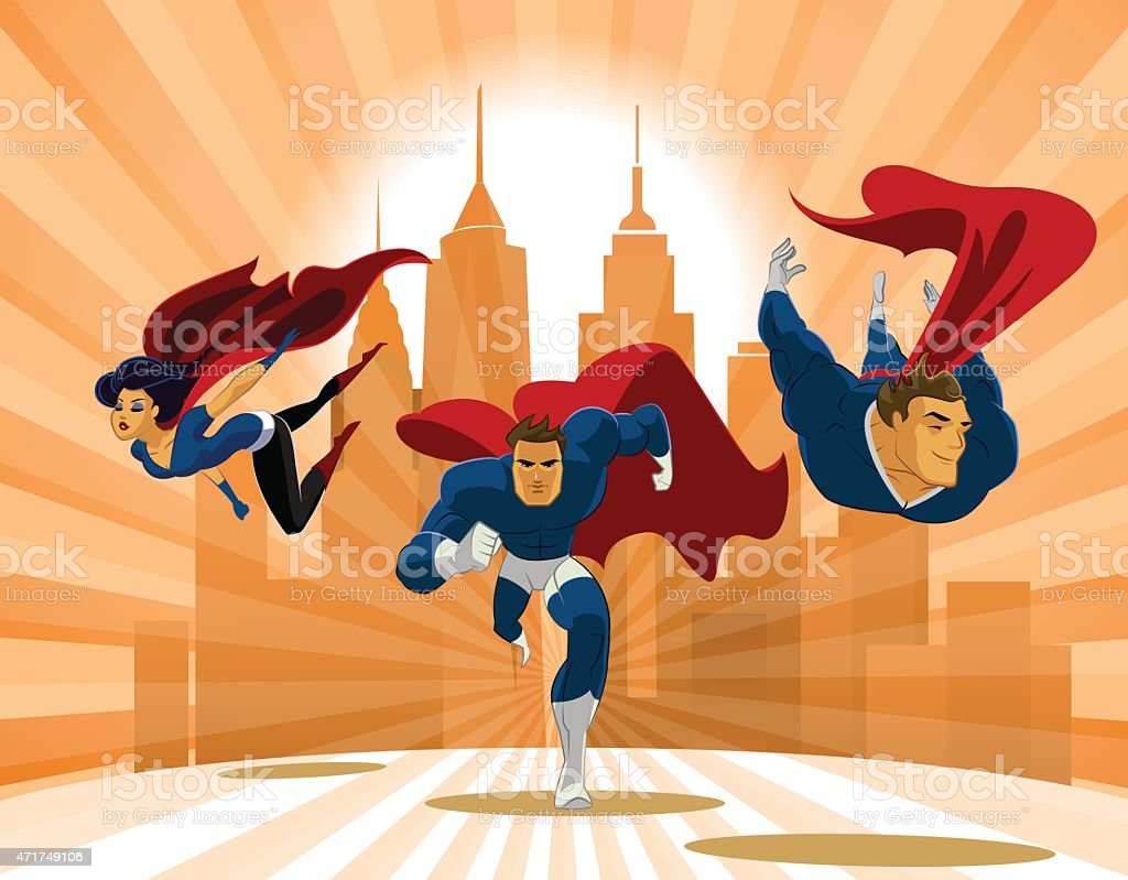 Animated superheroes flying low to ground through city vector art illustration