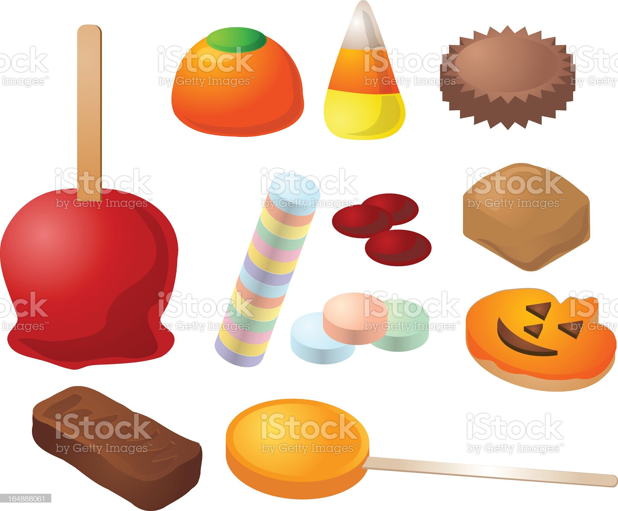 Animated various Halloween candy and goodies royalty-free stock vector art