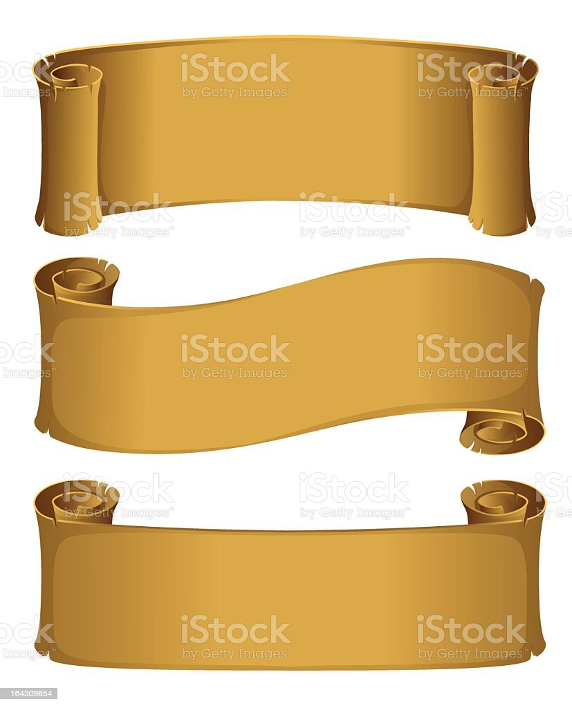 Animation of 3 different golden parchment scrolls royalty-free stock vector art