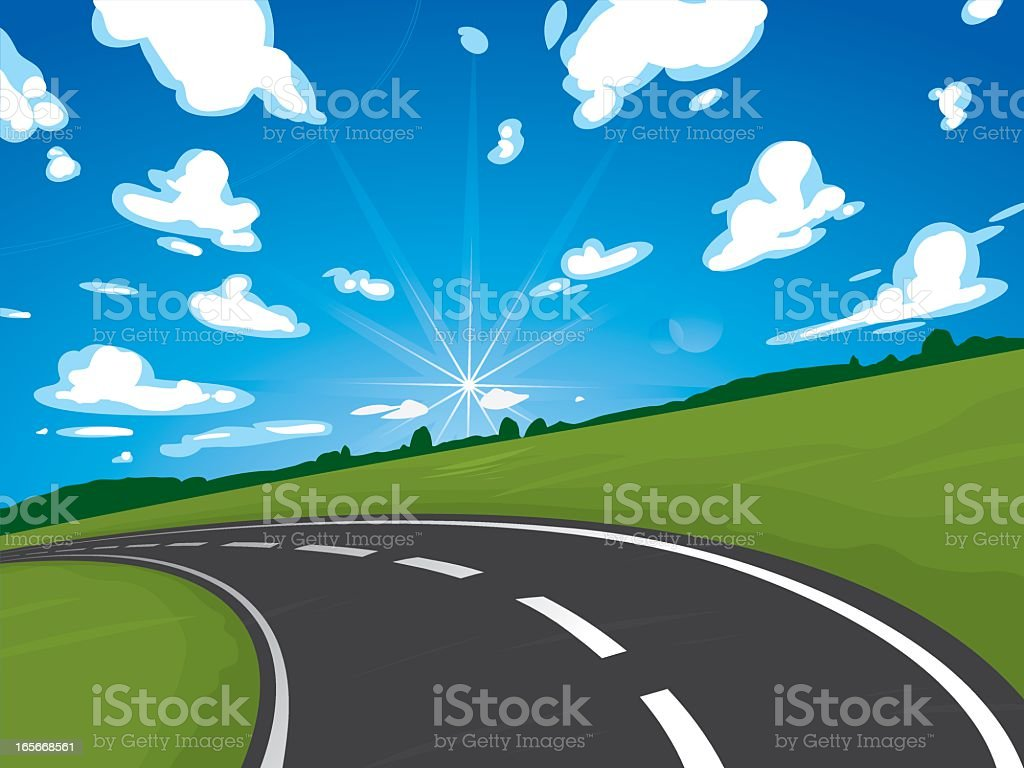 Animation of country road and bright blue cloudy sky royalty-free stock vector art