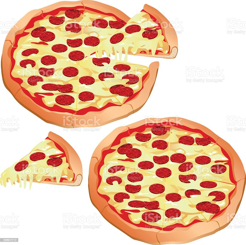 Animation of several pepperoni pizzas and slices vector art illustration