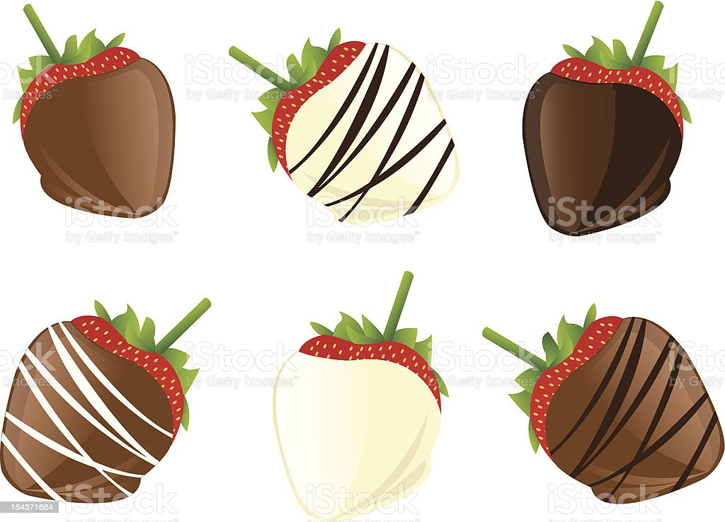 Animation of strawberries dipped in dark and white chocolate vector art illustration