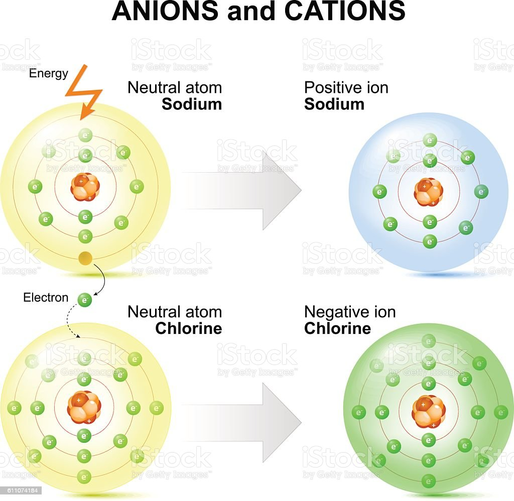 Anions and cations for example sodium and chlorine atoms. vector art illustration