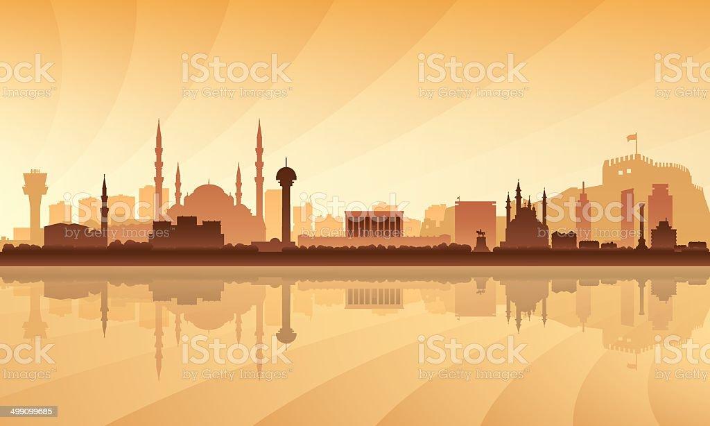 Ankara city skyline silhouette background royalty-free stock vector art