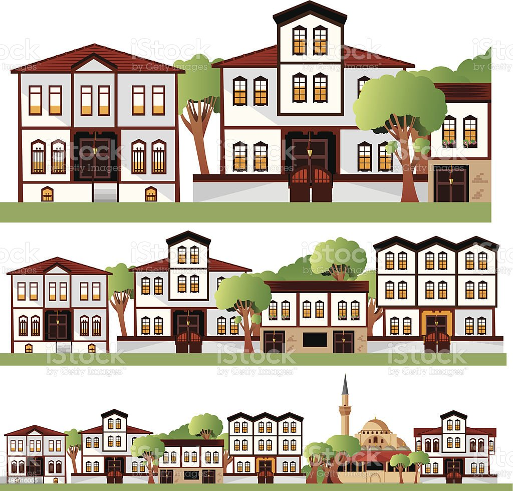 Ankara old houses vector art illustration