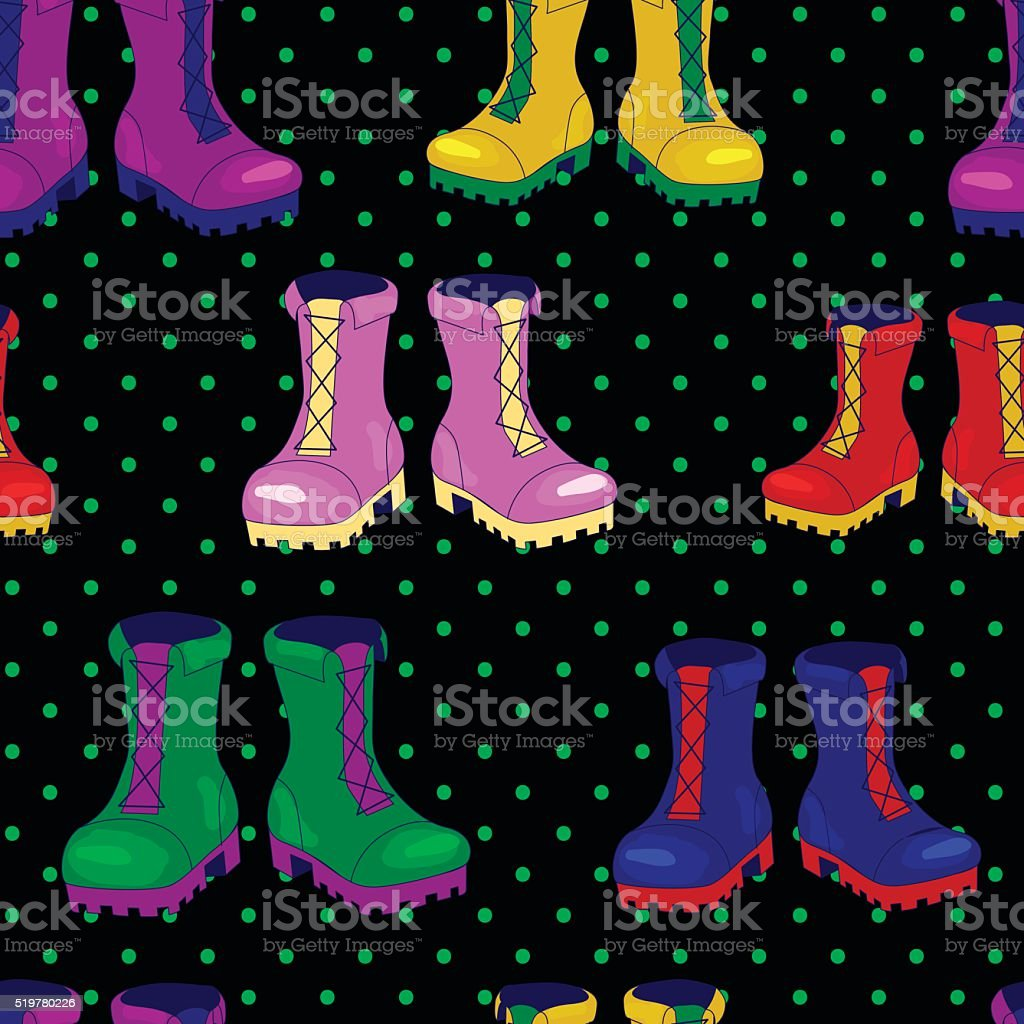 Ankle boots vector seamless pattern vector art illustration