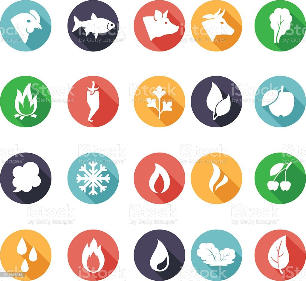 Annimals, leaves, fire, frost, steam, water icons. Flat style vector art illustration