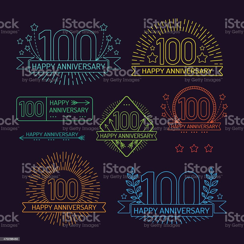 Anniversary 100th signs collection in outline style. vector art illustration