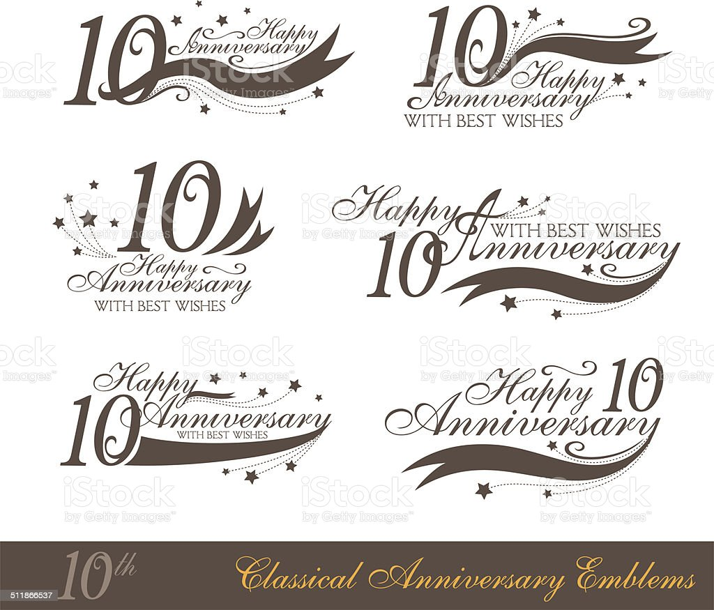 Anniversary 10th sign collection in classic style. vector art illustration
