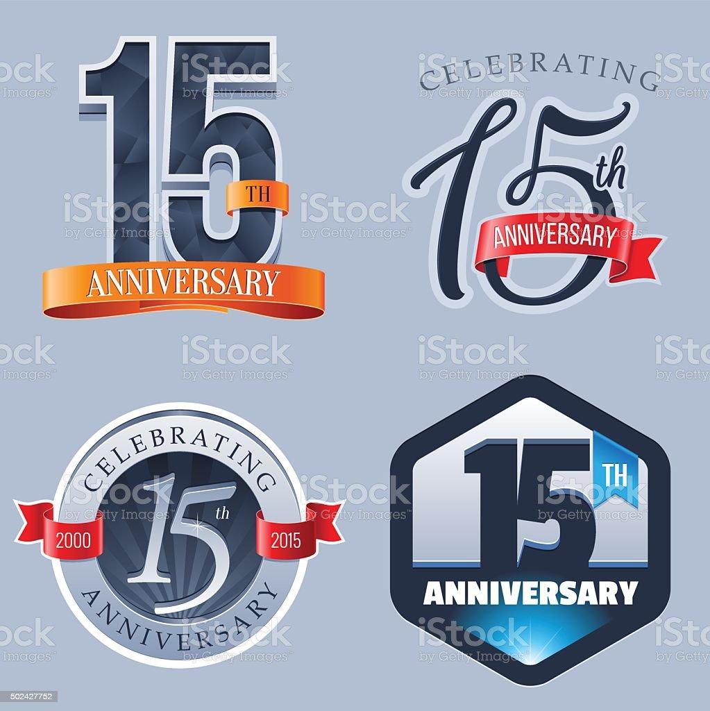 Anniversary - 15 Years vector art illustration