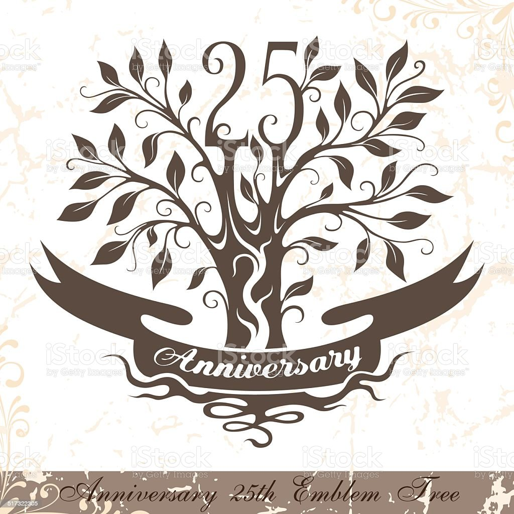 Anniversary 25th emblem tree in classic style. vector art illustration