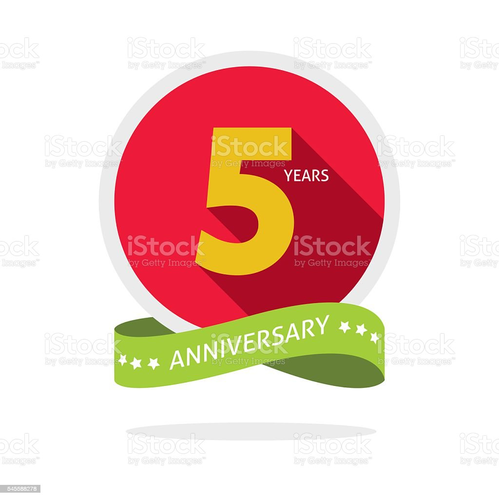 Anniversary 5 years logo badge, 5th birthday flat sticker vector art illustration