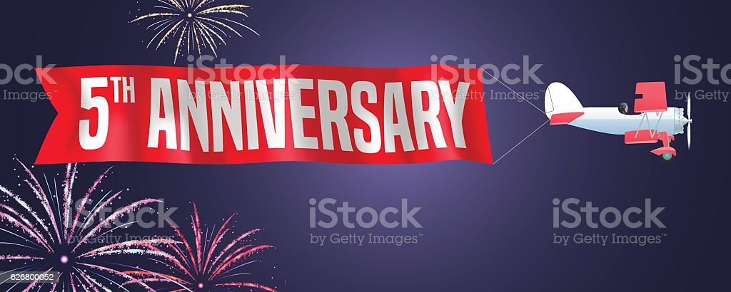 anniversary 5 years vector art illustration