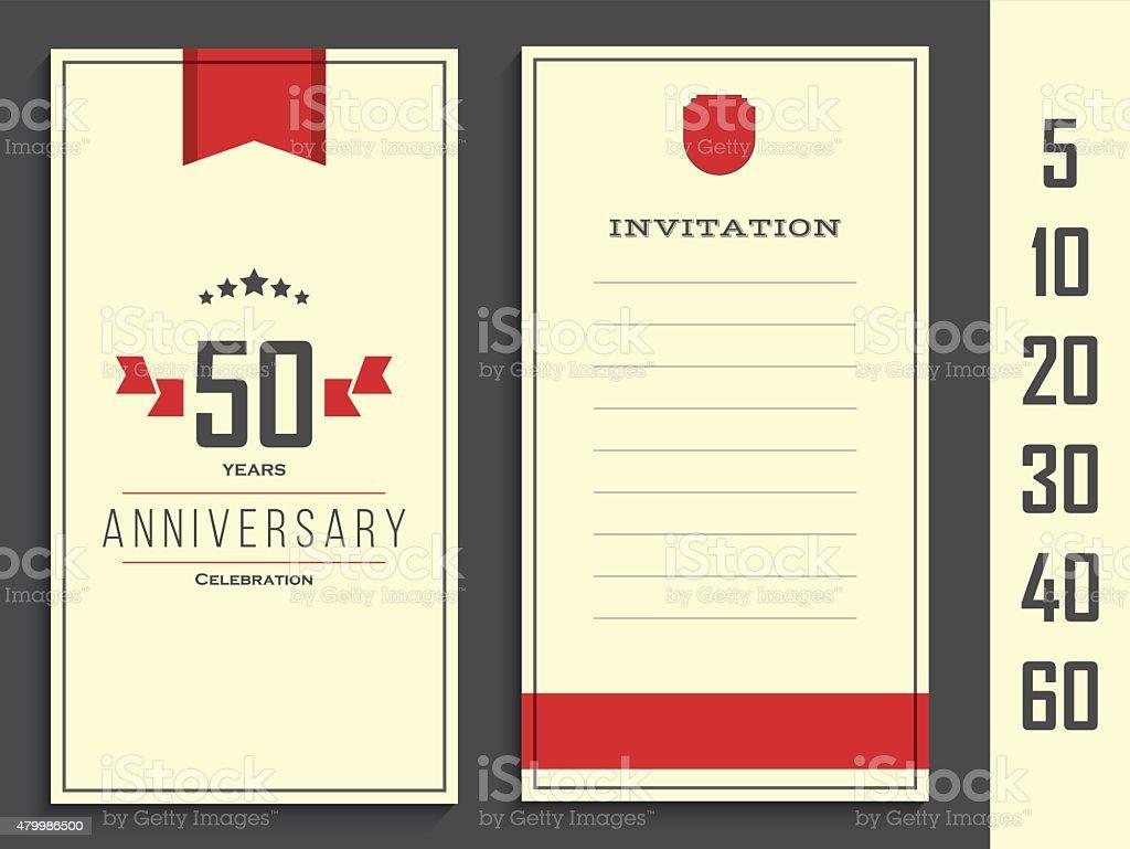 Anniversary 5th, 10th, 20th, 30th, 40th, 50th, 60th invitation card. vector art illustration