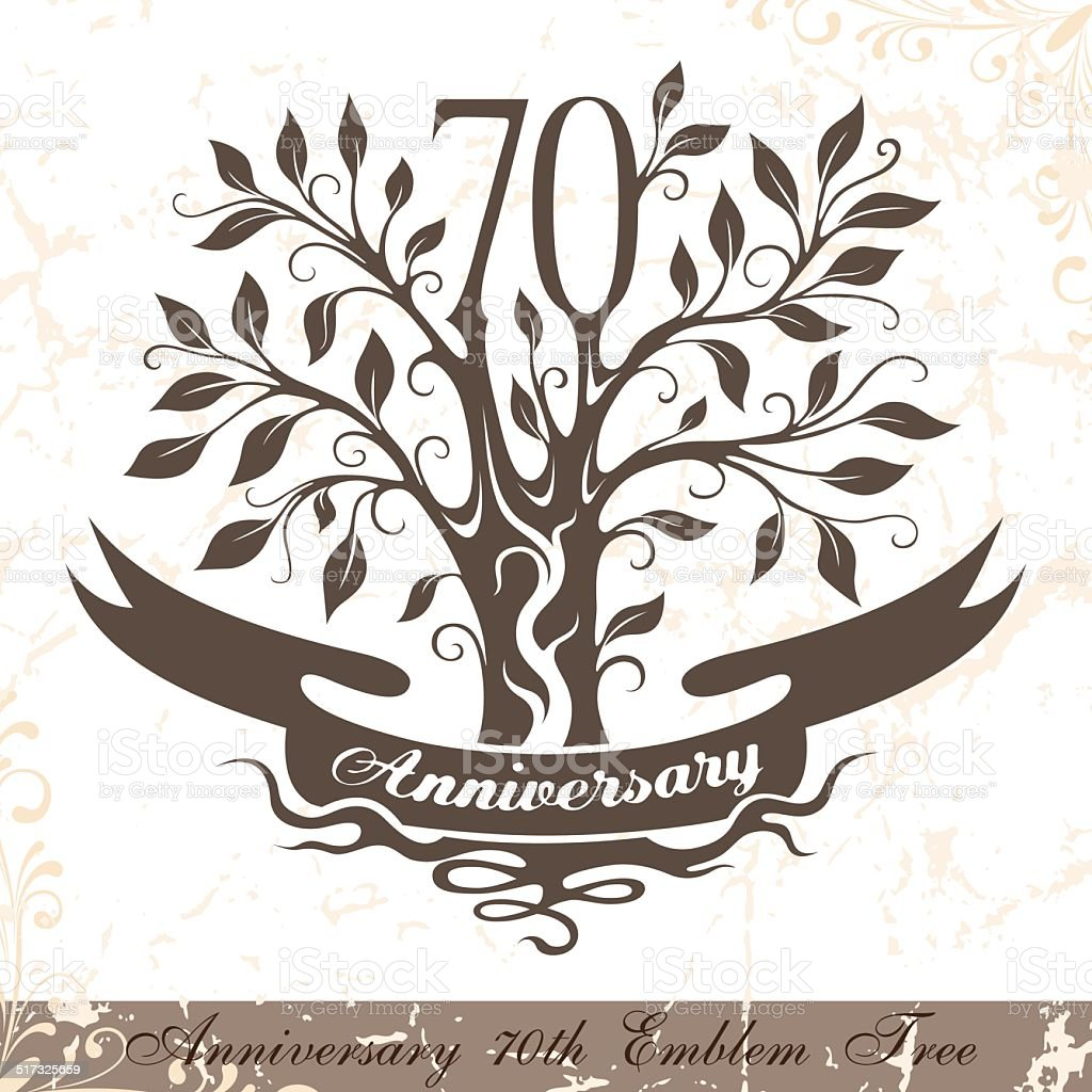 Anniversary 70th emblem tree in classic style. vector art illustration