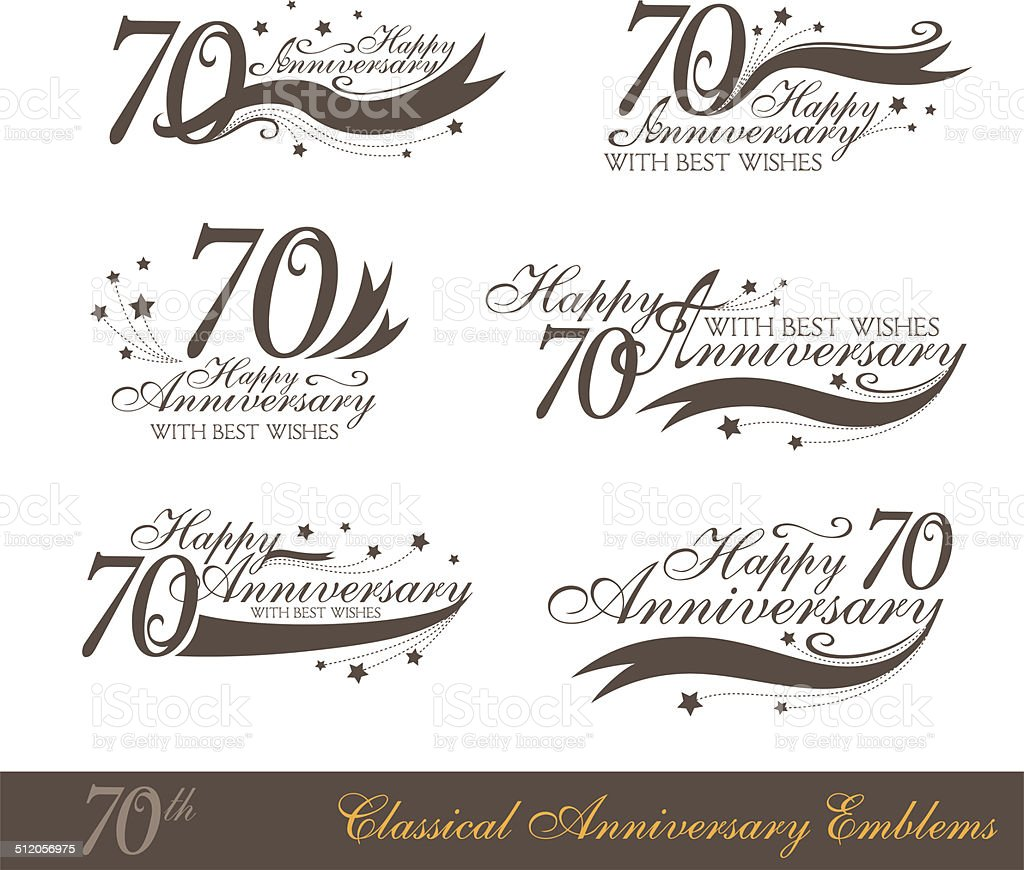 Anniversary 70th sign collection in classic style. vector art illustration