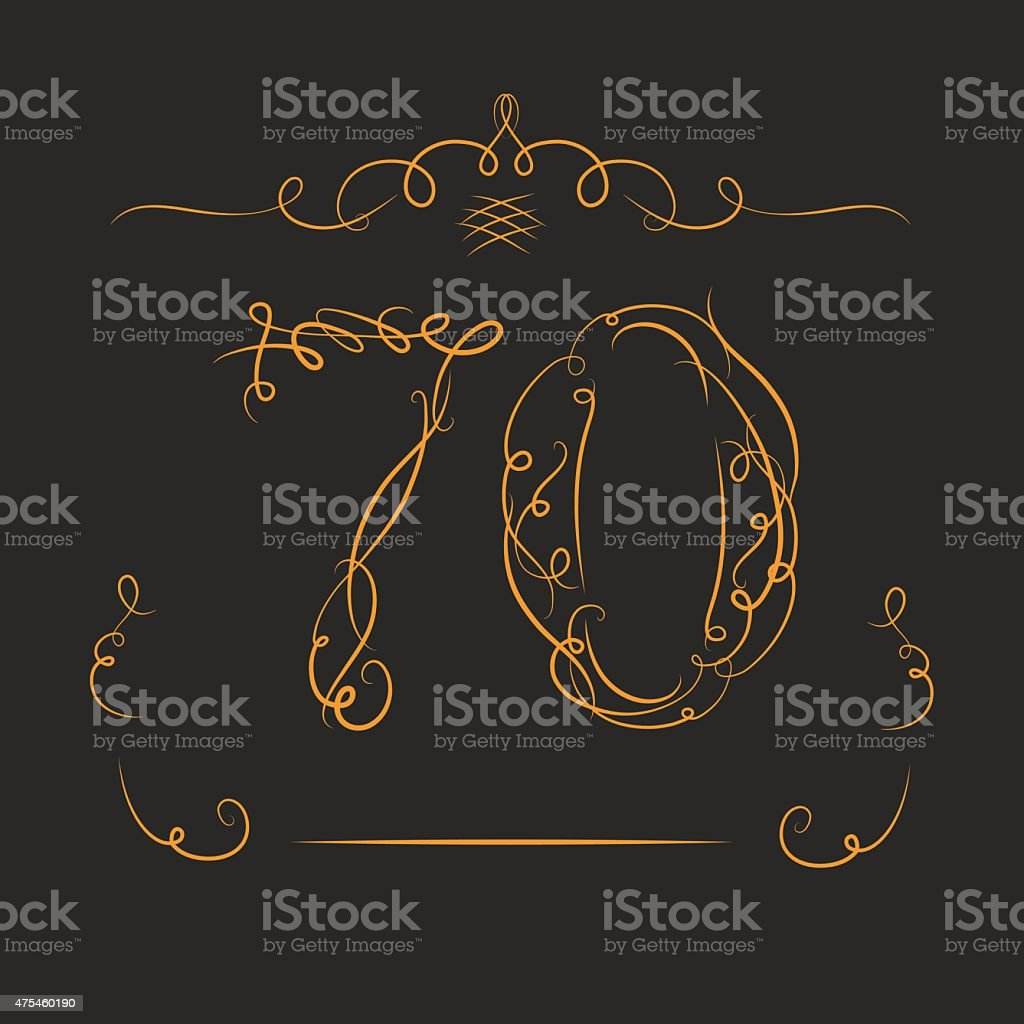 Anniversary 70th signs vector art illustration