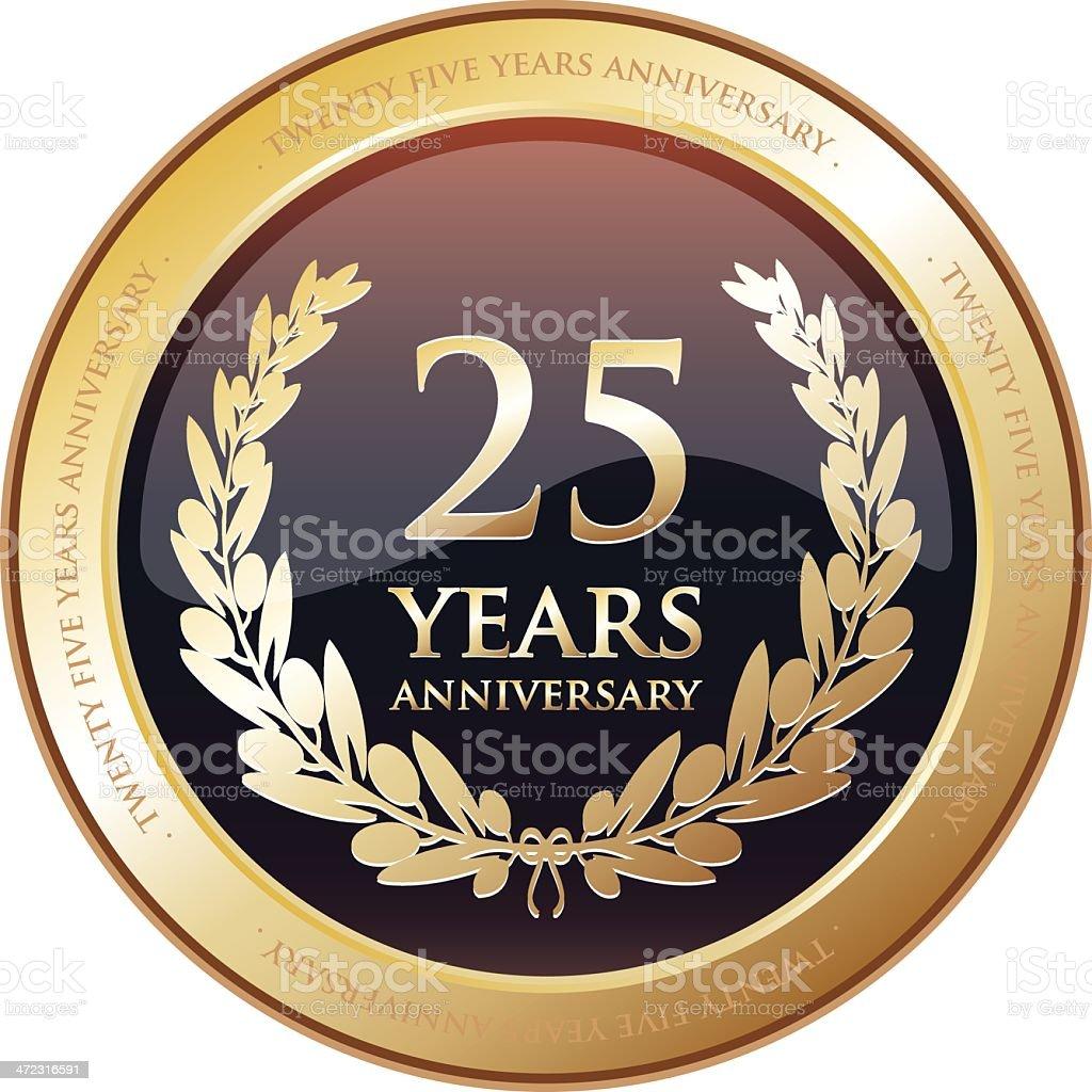 Anniversary Award - Twenty Five Years vector art illustration