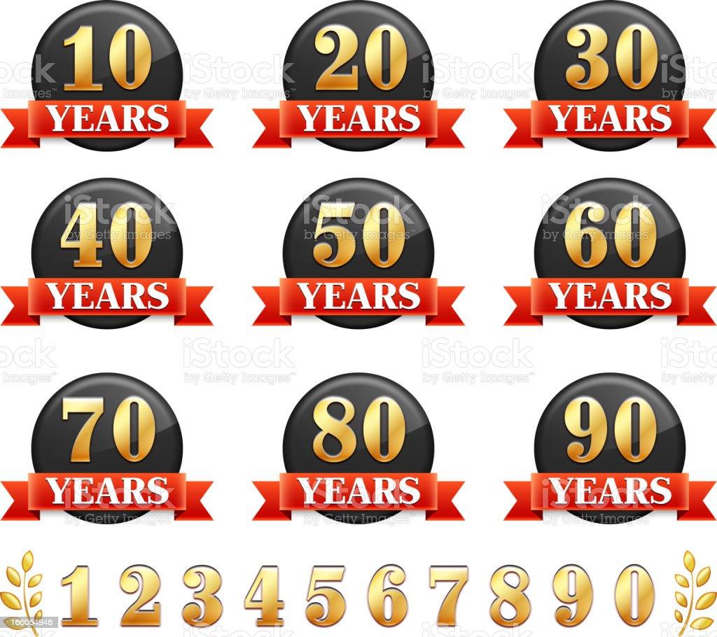 Anniversary Badge Set royalty-free stock vector art