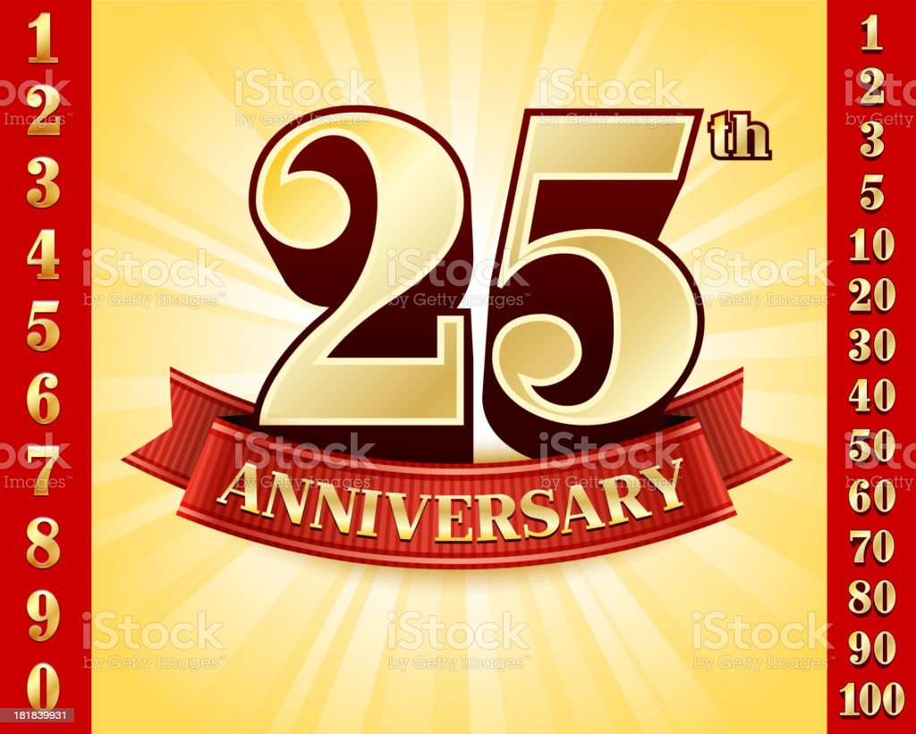 Anniversary Badges Red and Gold Collection Background vector art illustration