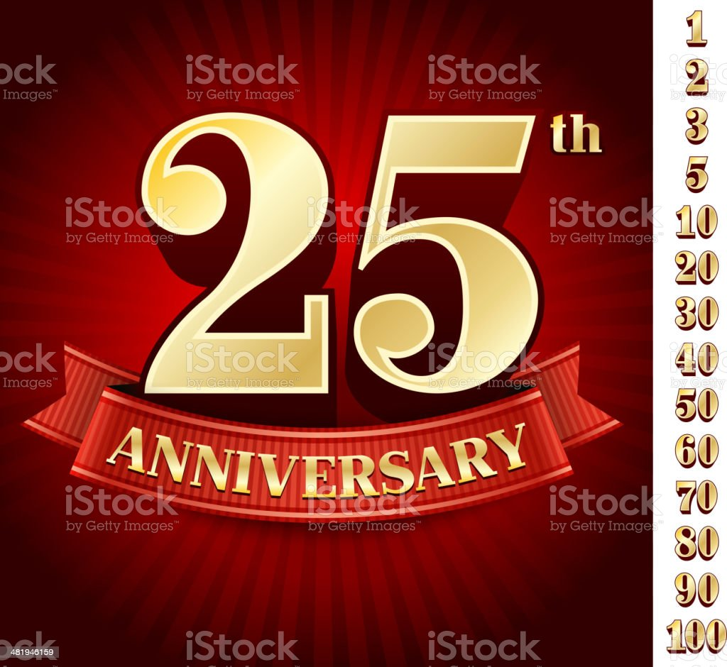 Anniversary Badges Red and Gold Collection Background royalty-free stock vector art