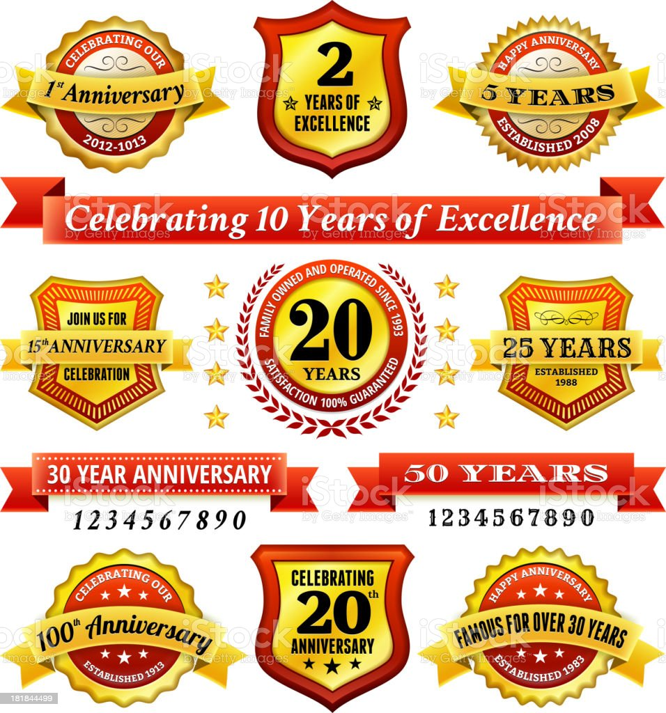 Anniversary Badges Red and Gold Set vector art illustration