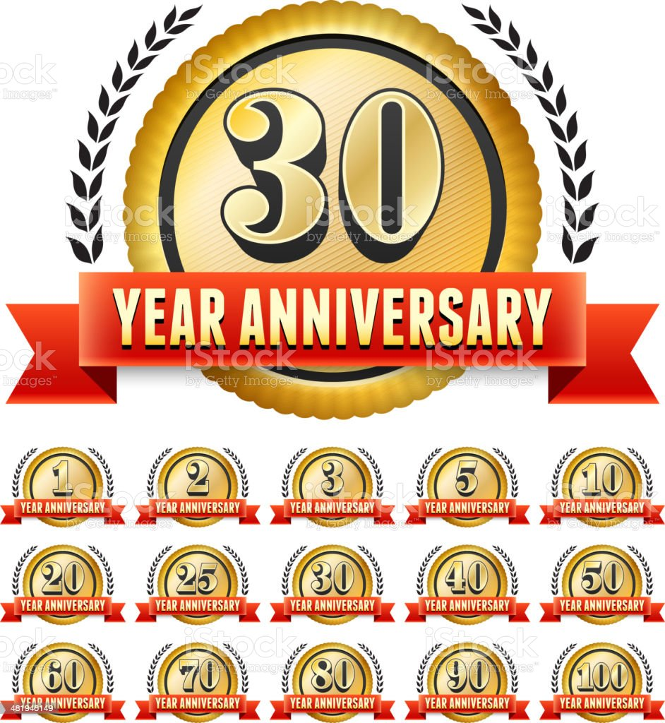 Anniversary Badges Red and Gold Set royalty-free stock vector art