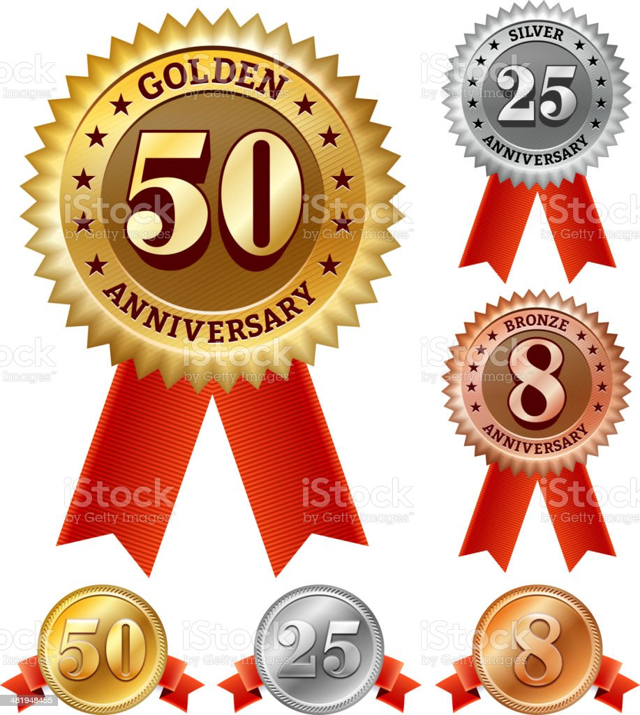 Anniversary Badges Red, Silver, and Bronze Set vector art illustration