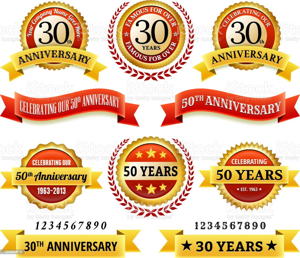 Anniversary Badges royalty free vector icon set vector art illustration