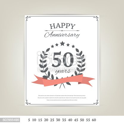Anniversary Card Template Stock Vector Art   Istock