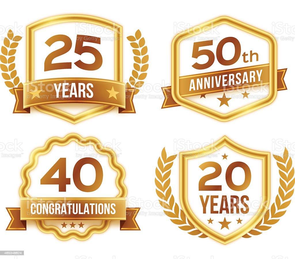 Anniversary Celebration Badges and Crests vector art illustration