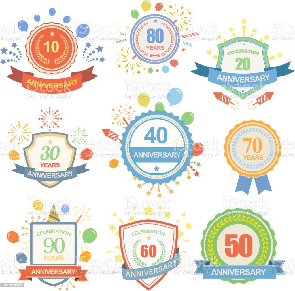 Anniversary celebration emblems set with ribbons isolated  illustration vector art illustration