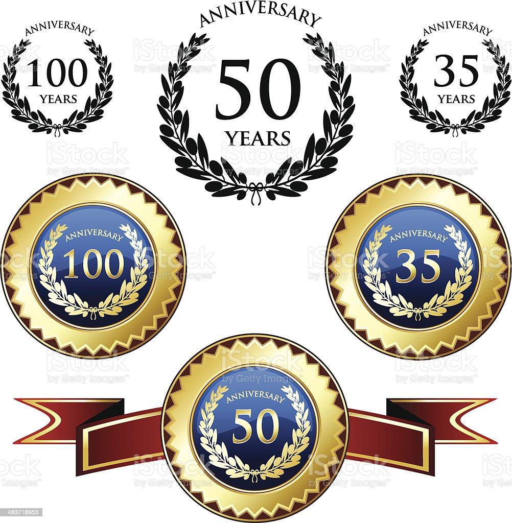 Anniversary Celebration Medals vector art illustration